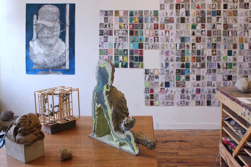 Installation view: Paris' studio in Brooklyn, NY.