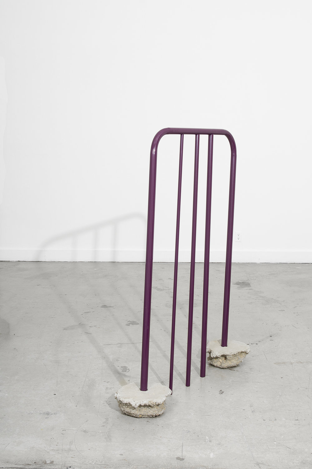 Tanya Brodsky  Purple Leaning , 2016 Powder coated steel, Quikrete 152.4 x 91.4 x 45.7 cm 60 x 36 x 18 in Photo: © Tanya Brodsky Courtesy of Ochi Projects