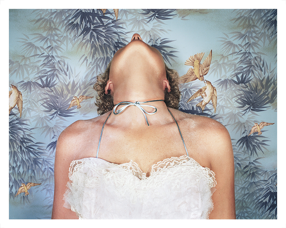 Jo Ann Callis  Woman with Blue Bow , 1977 Printed in 2018 Signed on verso Archival Pigment Print 61 x 76.2 cm 24 x 30 in Edition of 5 plus 2 AP Photo: © Jo Ann Callis Courtesy of ROSEGALLERY