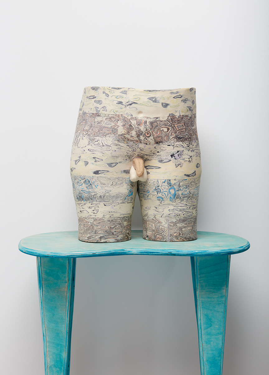 Alice Lang  Better Half #5 , 2018 Marbled porcelain, lava glaze, ply and wood dye 105.4 x 63.5 x 41.9 cm 41 1/2 x 25 x 16 1/2 in Photo: © Alice Lang Courtesy of Over the Influence