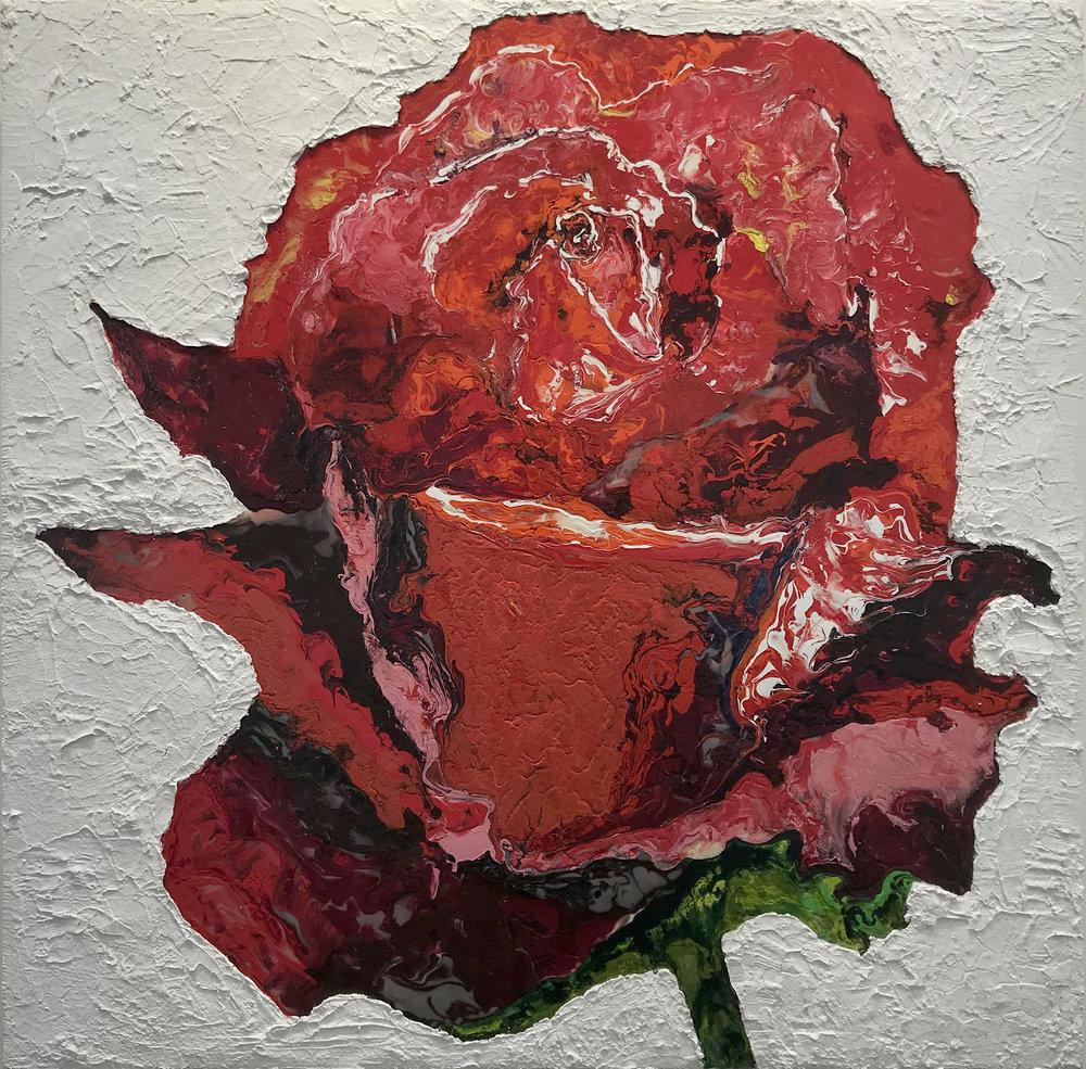Haleh Mashian  Red Rose , 2018 Mixed Media on Wood 60 x 60 in