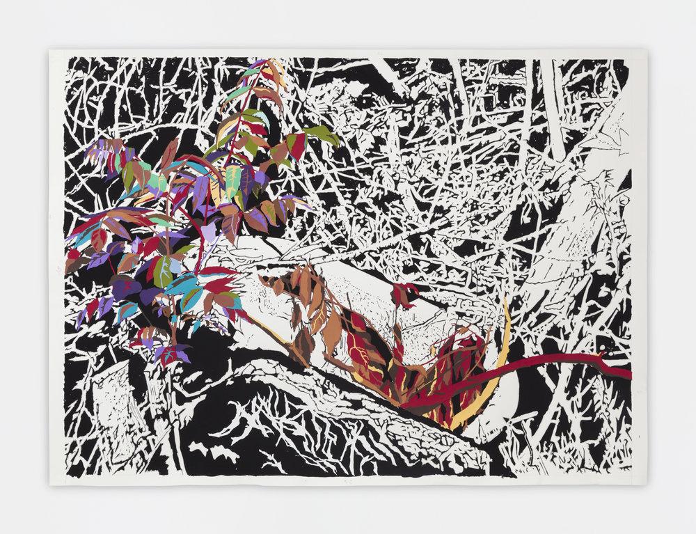 Francesca Gabbiani  Dead Nature with Bathtub , 2017 Ink, gouache and colored pencil on paper 97.8 x 132.1 cm 38 1/2 x 52 in Photo: © Francesca Gabbiani Courtesy of Gavlak Gallery