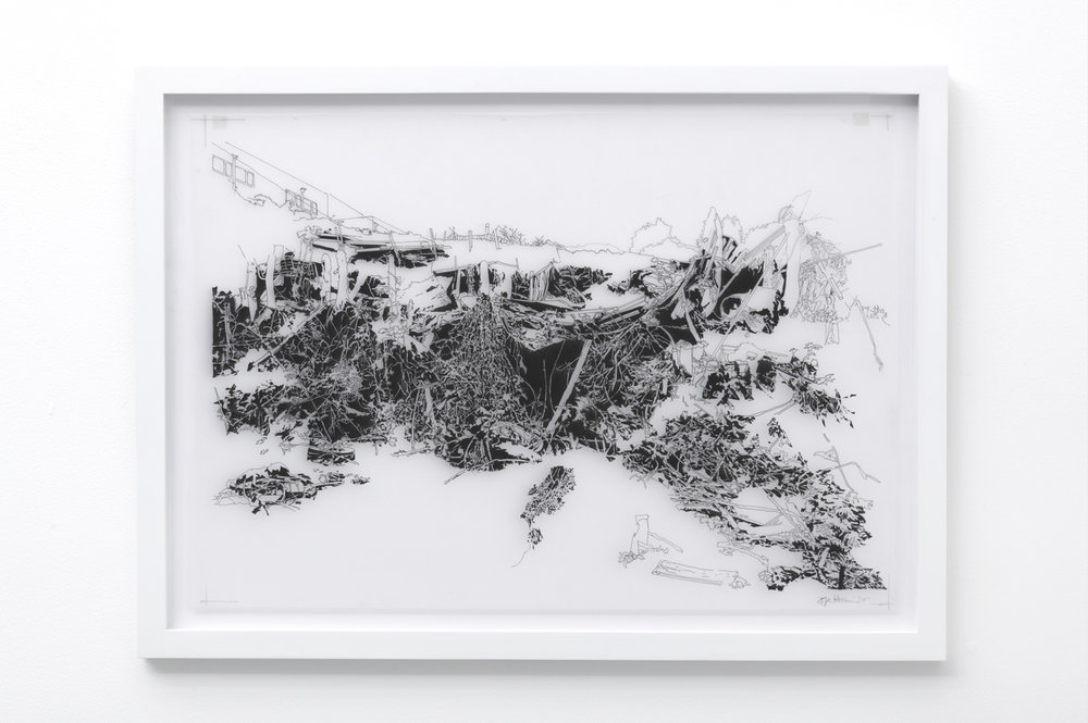 Francesca Gabbiani  Overlook (drawing) , 2016-2017 Ink on mylar 53.3 x 72.4 x 2.5 cm 21 x 28 1/2 x 1 in Photo: © Francesca Gabbiani Courtesy of Gavlak Gallery