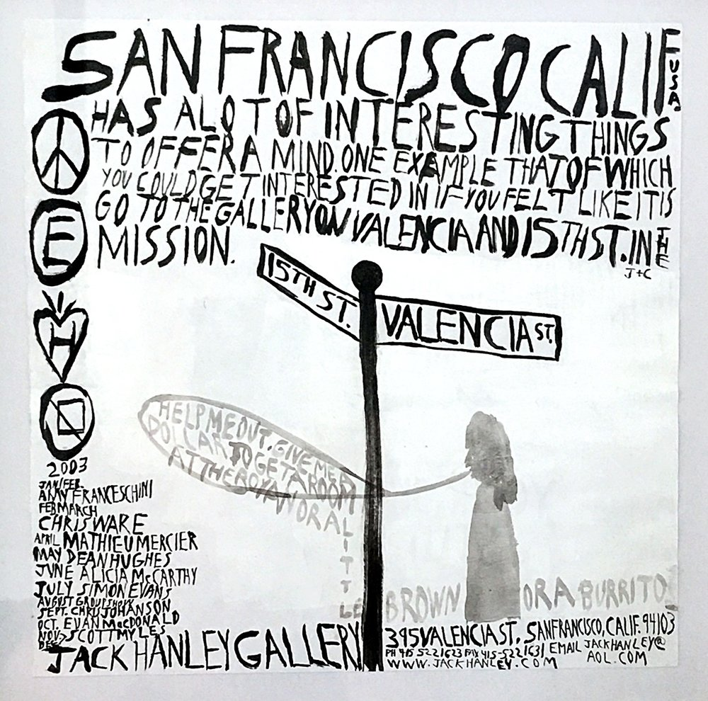 Chris Johanson  drawing for poster, 2003.