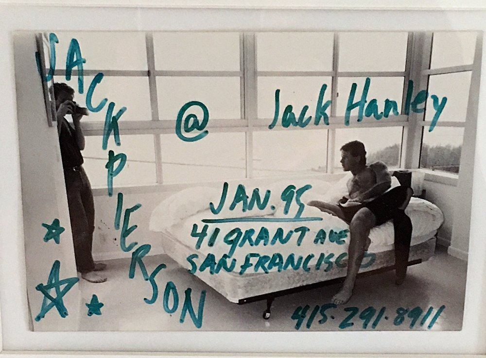 Jack Pierson photo and drawing for poster, Jack Hanley Gallery, 1995.