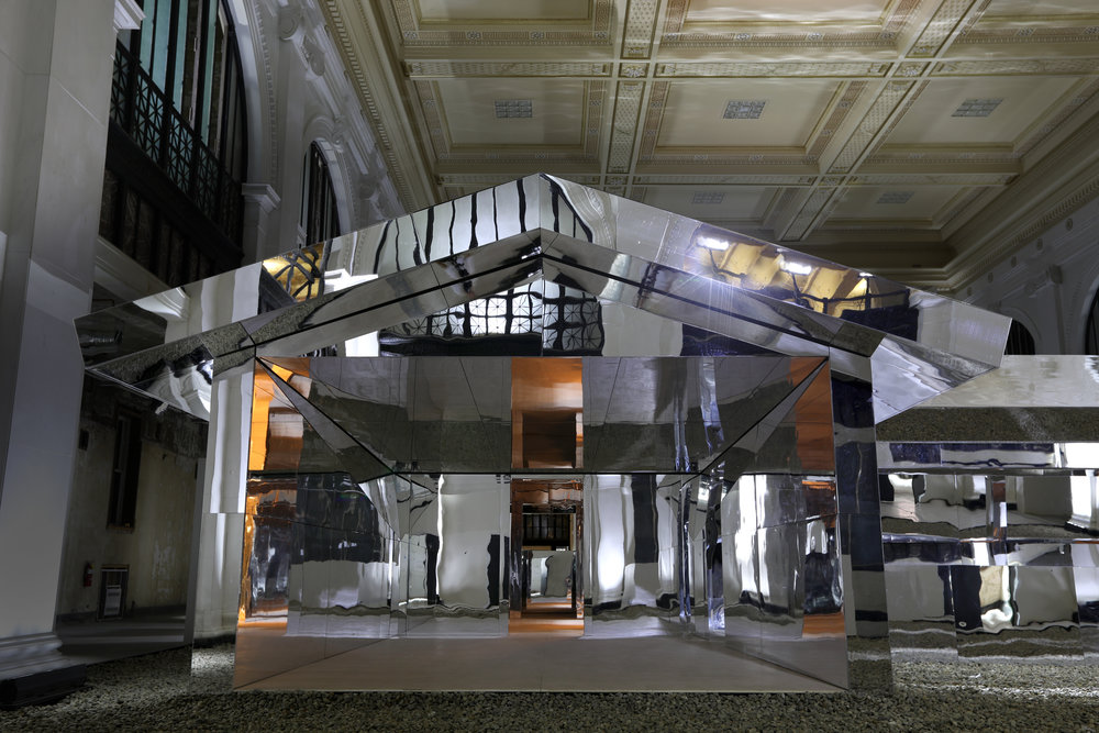 Installation view of Doug Aitken,  Mirage Detroit  2018, photography by Conner MacPhee, courtesy the artist and Library Street Collective.