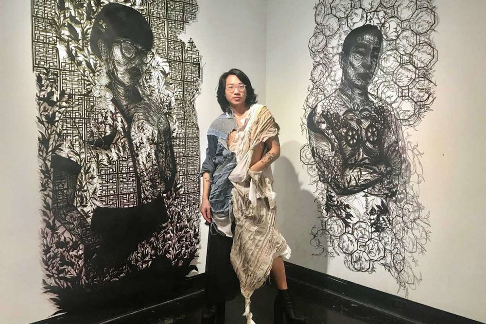 Photo: Molly Glentzer / Houston Chronicle  yêu em dài lâu (me love you long time)  exhibit at Lawndale Art Center exhibition