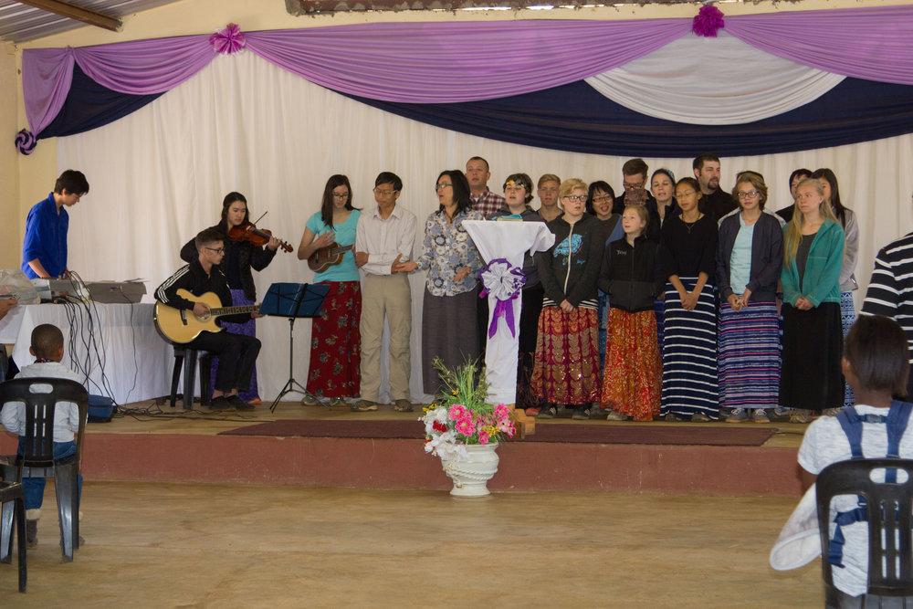 Leading worship at Church
