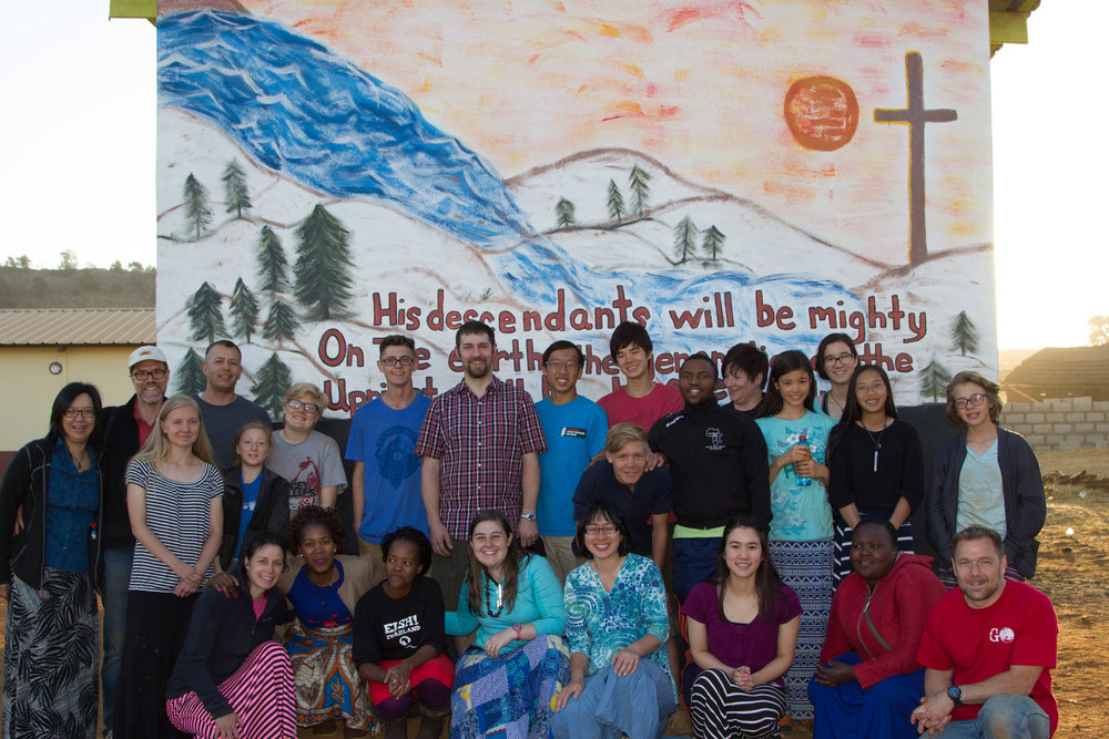 Our Swaziland Team in front of newly painted mural