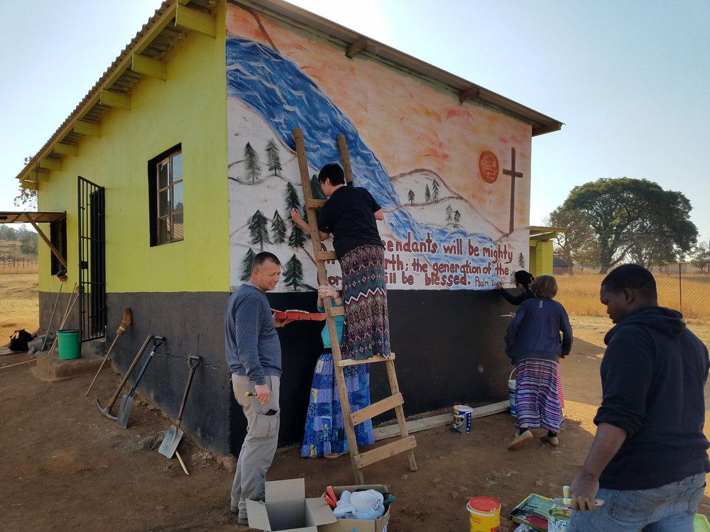 Painting a Mural on Preschool