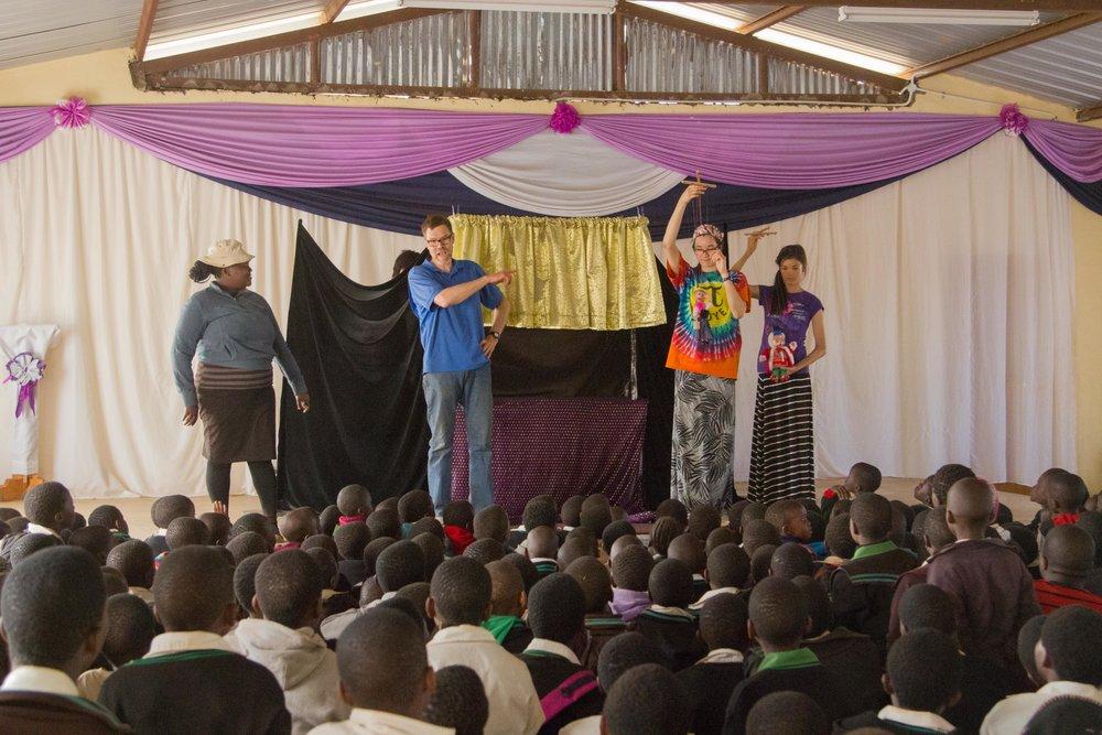 Marionette show with Hlengiwe translating