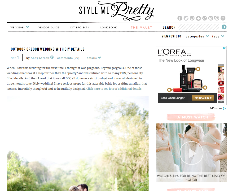Featured on Style Me Pretty | Bella Notte Events