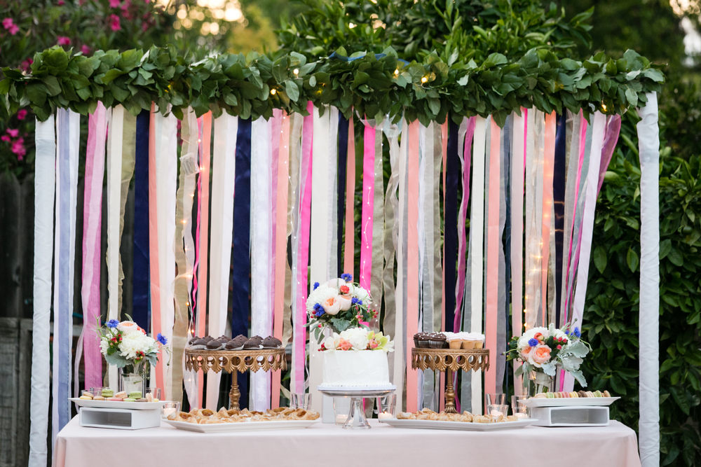 Navy | Peach | Sky Blue | Boho | Oak Tree | Outdoor wedding | Floral Crown | Palo Alto | Olivia Smartt Photography | Bella Notte Events Planning and Design