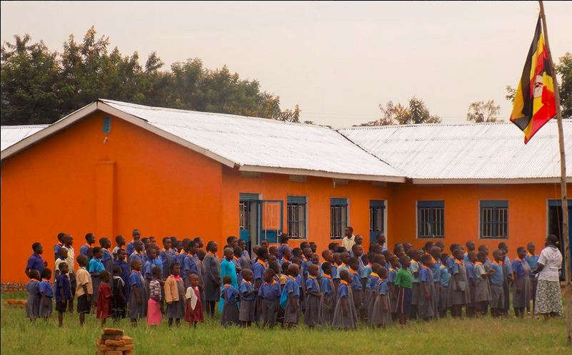 Students outside the Kasese Humanist Primary School in June 2015