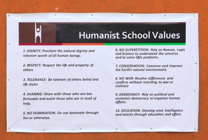 """Our Humanist School Values are posted prominently on our campus, and are from Dr.Rodrigue Tremblay's book """"The Code for Global Ethics: Ten Humanist Principles"""",Prometheus Books, (ISBN: 978-1-61614-172-1), 2010."""