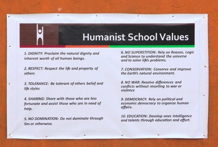 Our Humanist Values as posted at Bizoha Primary School and Orphanage