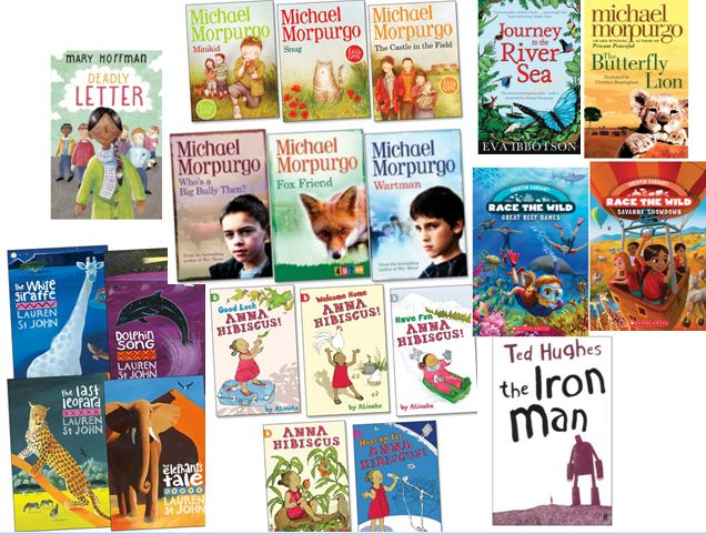 Chapter books for all reading levels. Some are specifically targeted to struggling readers, with visual cues and interest levels at higher than reading level. Others are for more accomplished intermediate readers.