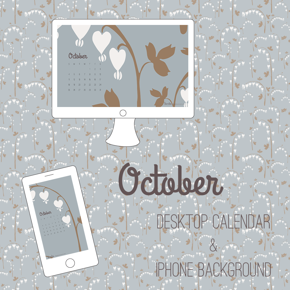 Free October Desktop and iPhone calendar backgrounds from Yardia by Brigida Swanson | Art, illustration and education