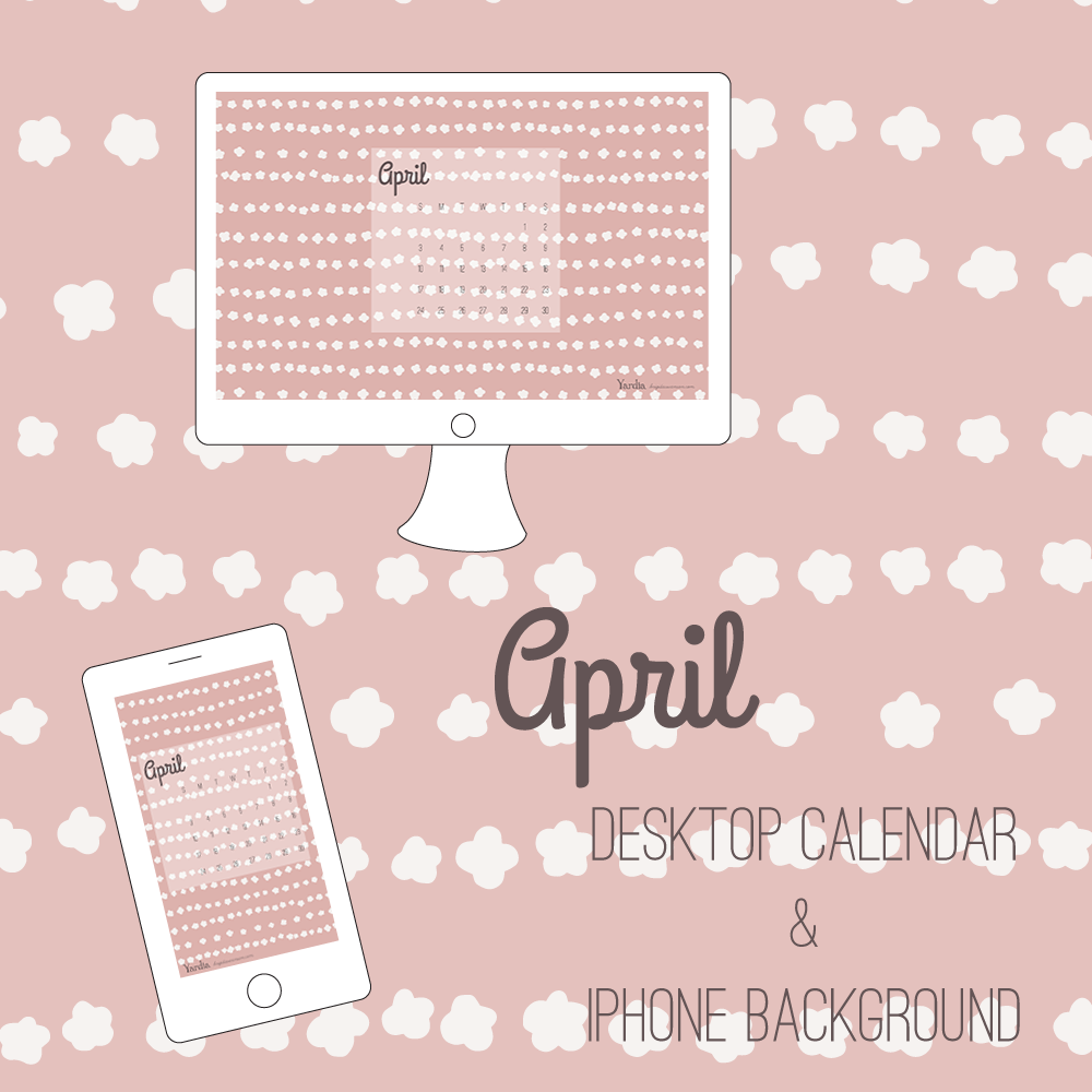 Here are your free April desktop and smart phone calendar backgrounds by Brigida Swanson. Visit the Yardia blog to download both files.
