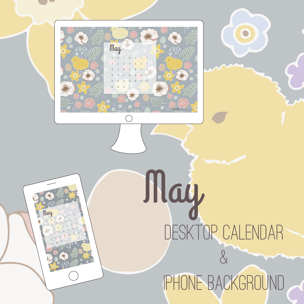 Here are your free May desktop and smart phone calendar backgrounds by Brigida Swanson. Visit the Yardia blog to download both files.