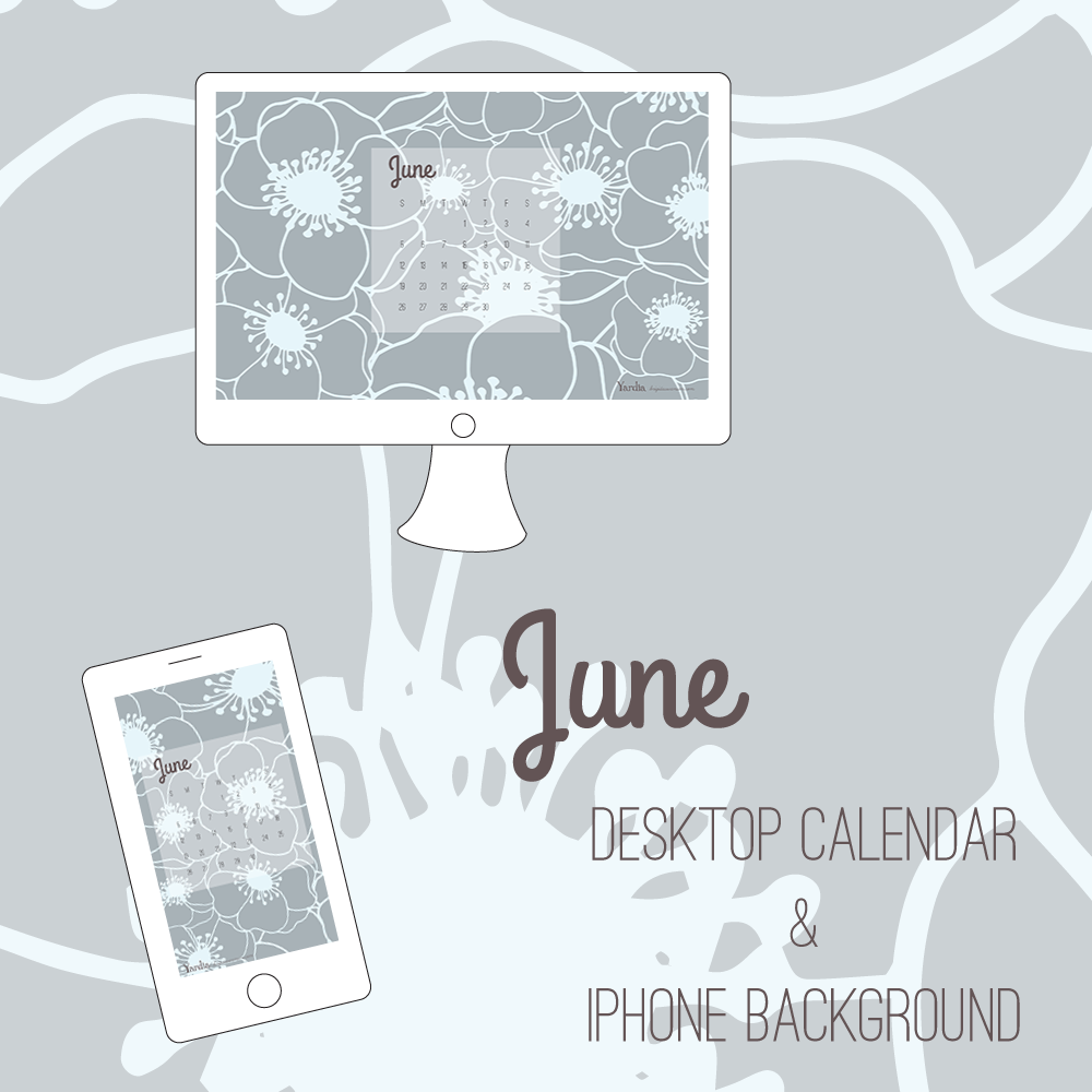 Here are your free June desktop and smart phone calendar backgrounds by Brigida Swanson. Visit the Yardia blog to download both files.