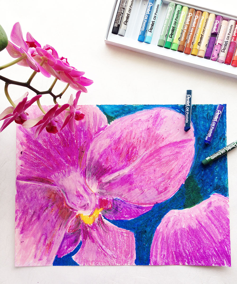 How to draw an oil pastel flower, with downloadable resources for educators.