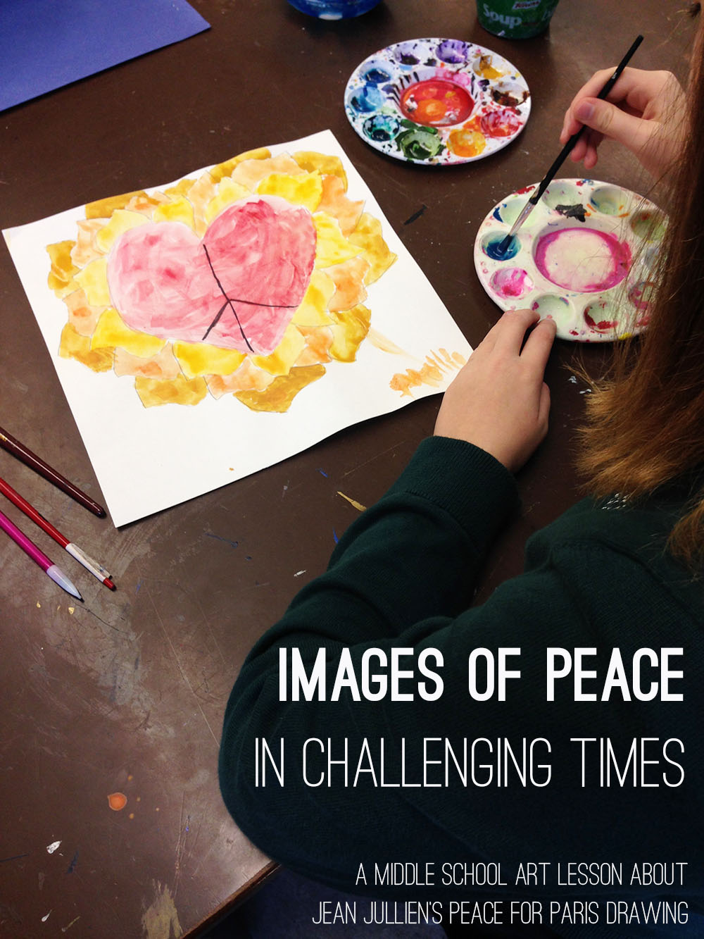 A middle school art lesson about Jean Jullien and his Peace for Paris drawing