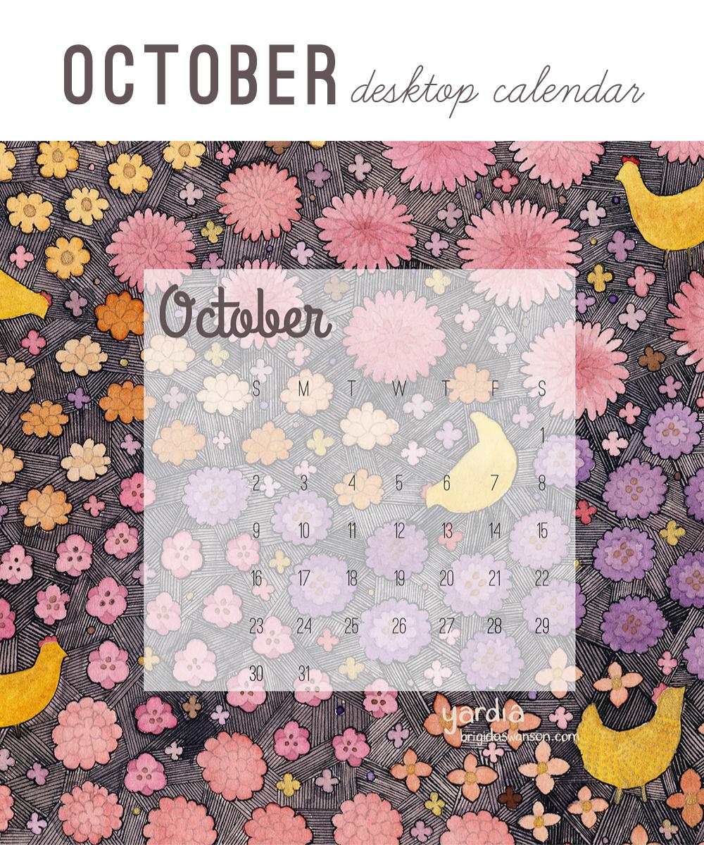 Yardia October 2016 calendar