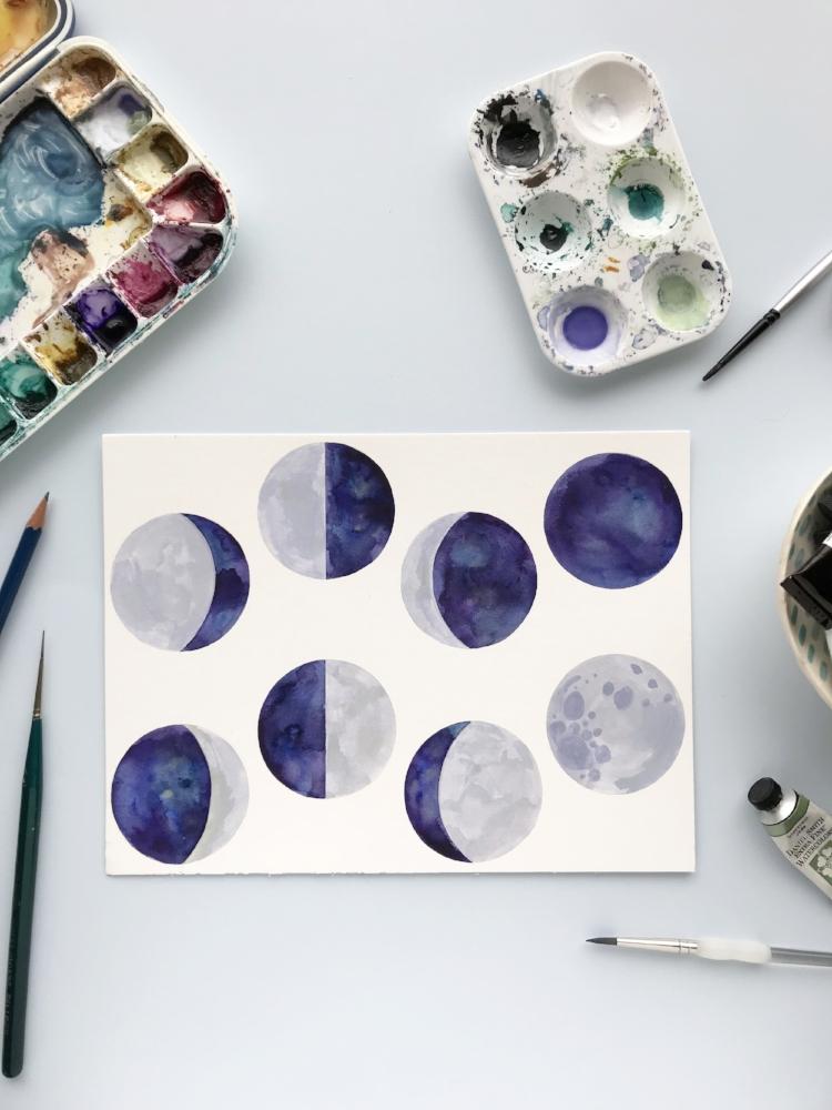 Moon watercolor art