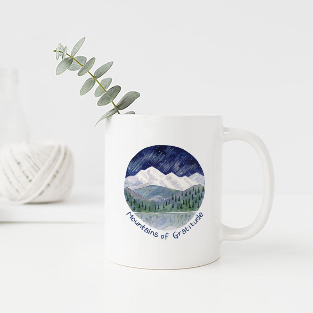 Mountains of Gratitude mug by Yardia