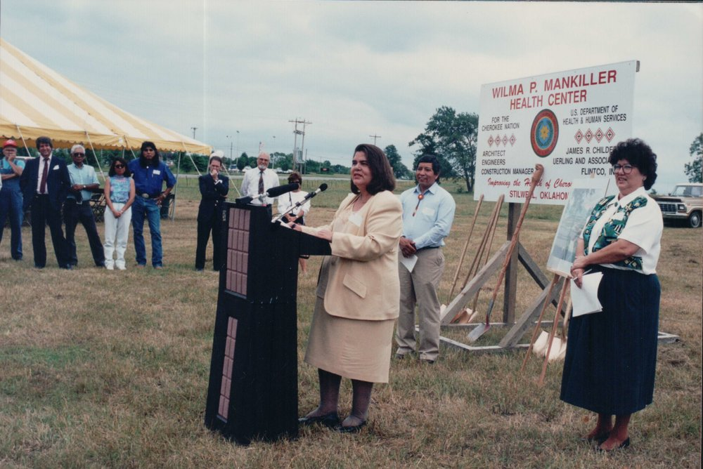 Wilma Mankiller speaks at the goundbreaking of the Wilma P. Mankiller Health Center