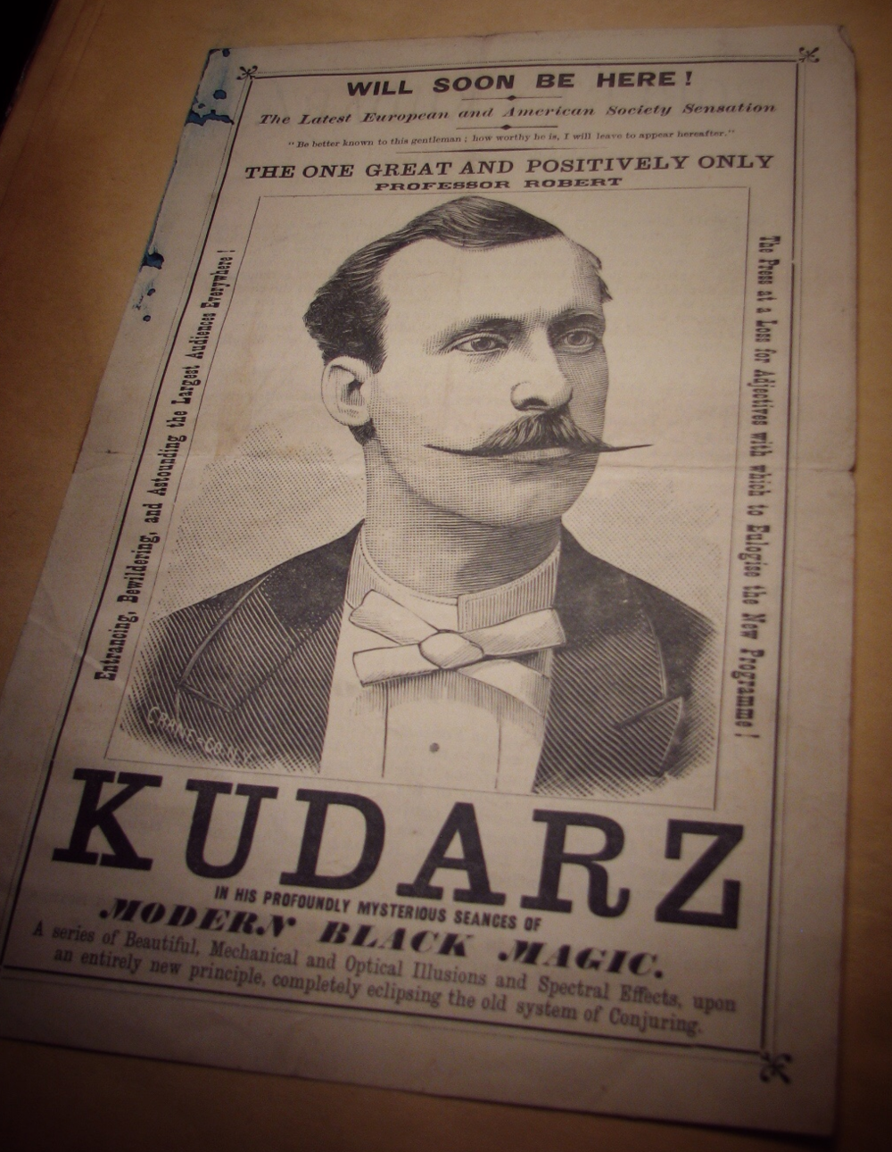 Advertising Flyer for Robert Kudarz.  Permalink:  http://lccn.loc.gov/2011656323      Burlingame, Hardin J.  Foreign magicians, [1870-1901]  Library of Congress Rare Book/Special Collections Reading Room (Jefferson LJ239) - Houdini Scrapbook 4
