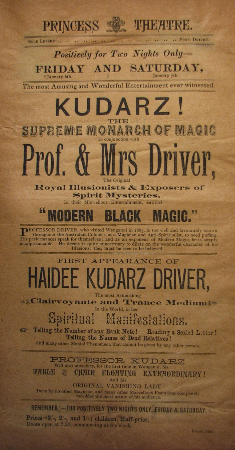 Advertising Flyer for Kudarz/Driver  Permalink:  http://lccn.loc.gov/2011656323    Burlingame, Hardin J.  Foreign magicians, [1870-1901]  Library of Congress Rare Book/Special Collections Reading Room (Jefferson LJ239) - Houdini Scrapbook 4