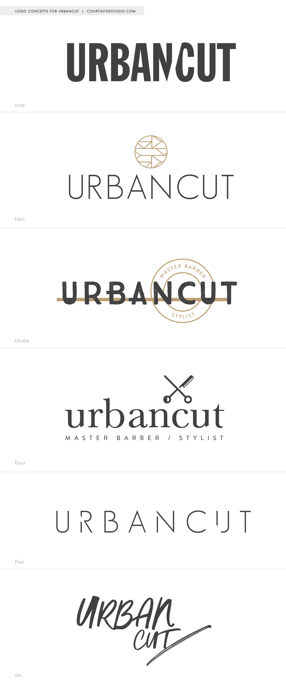 A sample of 1st design concepts for my client  Urbancut