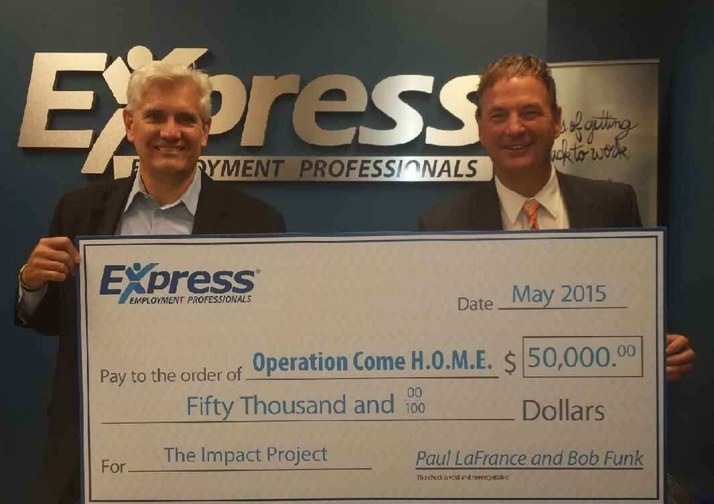Dan Broihan, receives $50,000 donation from Express Employment Professionals – Rochester Hills owner, Paul LaFrance