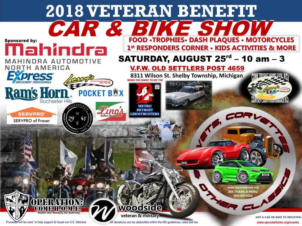 VETERAN BENEFIT CAR BIKE SHOW OPERATION COME HOME - Detroit car show august 2018