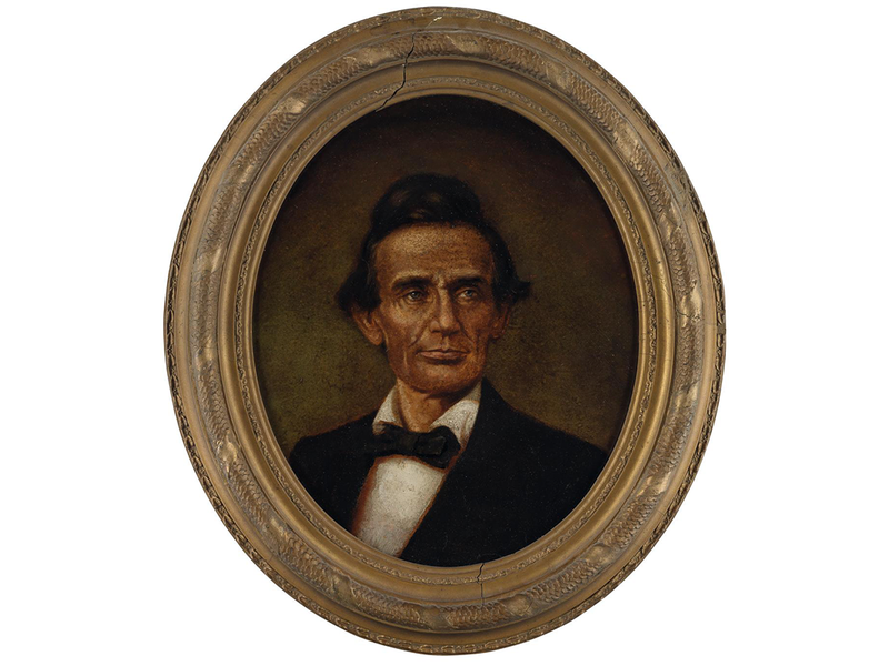 This 1860 portrait of Abraham Lincoln, believed to be by John C. Wolfe, depicts the young presidential nominee without his signature beard (Courtesy of Swann Auction Galleries)