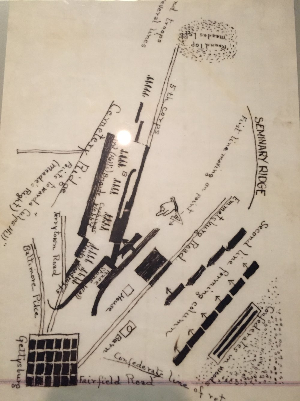 Hand drawn map by George Pickett of third day's battle at Gettysburg