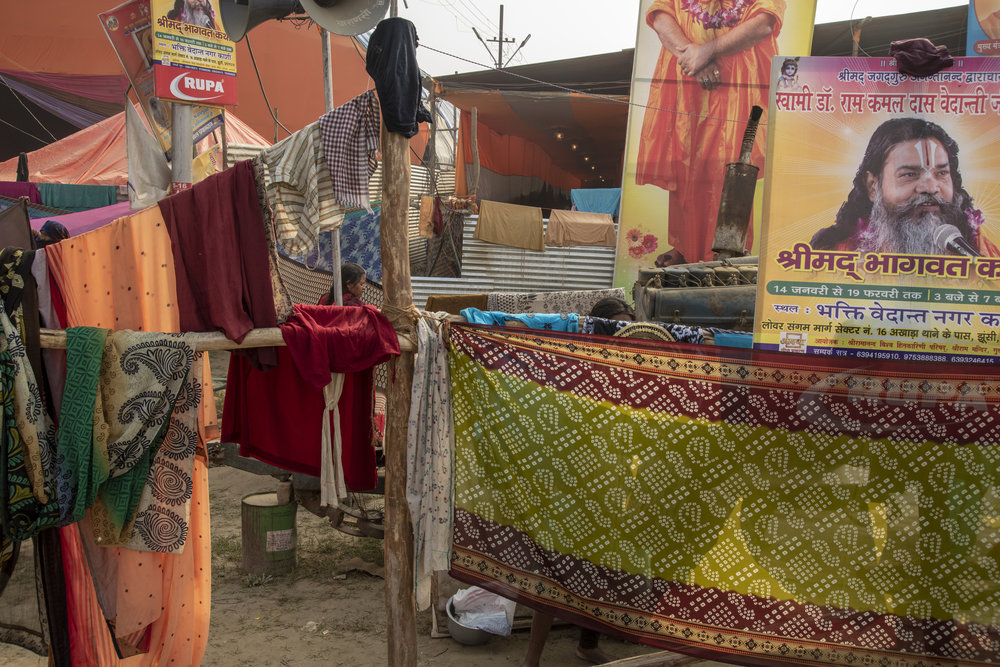 A maze of sarees and clothes dry in the sun