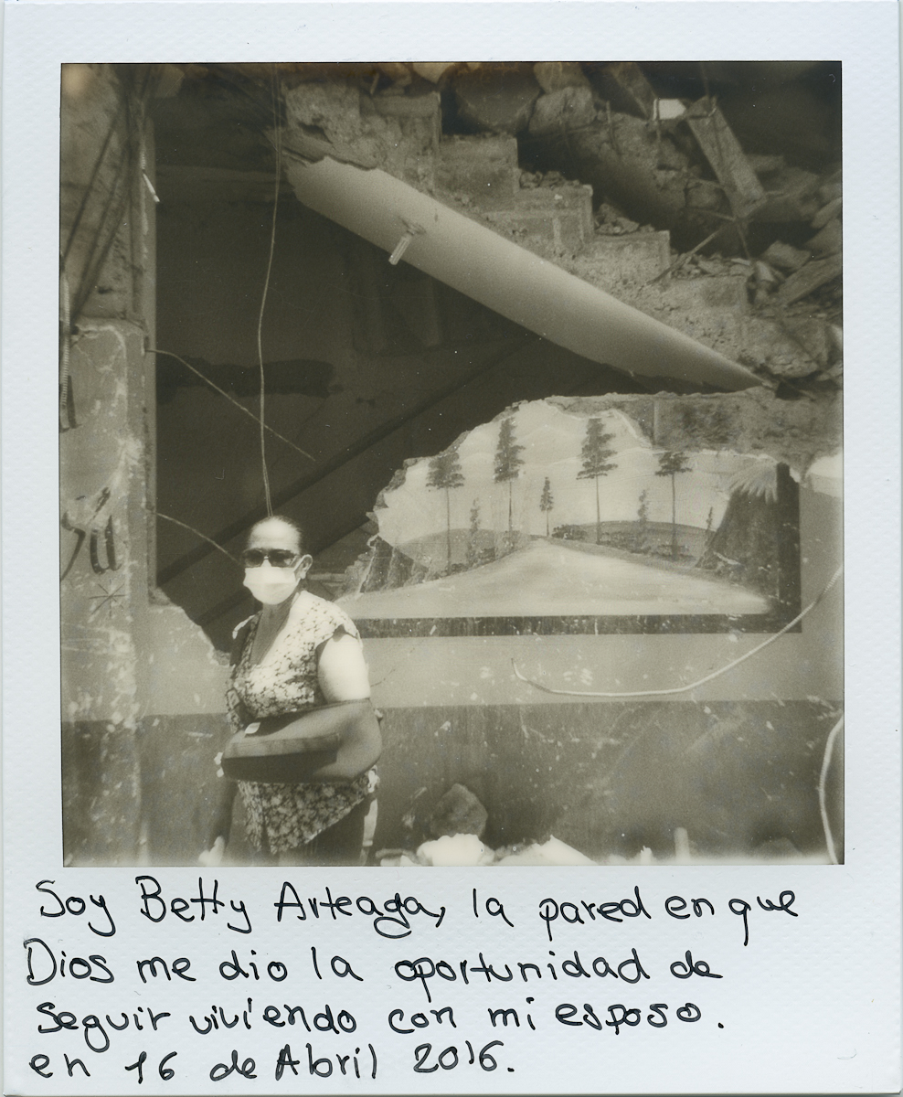 I am Betty Arteaga, this is the wall in which God gave me the chance to keep living with my husband on the 16th of April 2016.