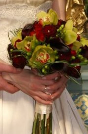 A close up of her wedding bouquet. We added pearl accents to compliment her gown.