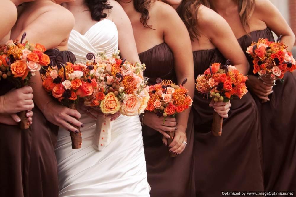 Brown and Burnt Orange Bridesmaid Dresses