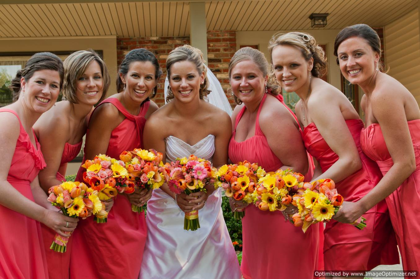 Brown and yellow bridesmaid dresses image collections braidsmaid beautiful coral and brown wedding contemporary styles ideas valleybrook country club florist alison and fred a ombrellifo Image collections