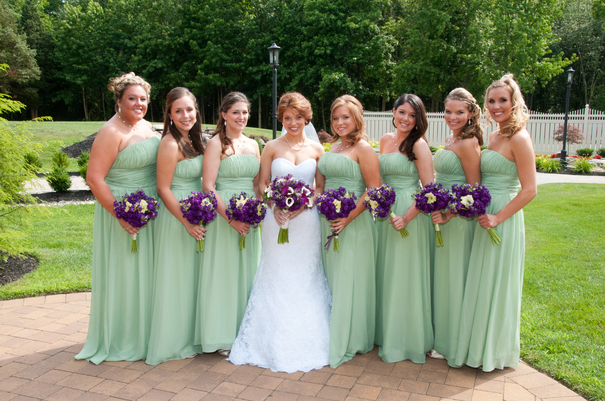 South jersey florist megan and daniel at brigalias a garden party i love the bridesmaids pistachio gowns the purple bouquets look great against the green the girls carried bouquets of purple stock and green gladiola ombrellifo Images