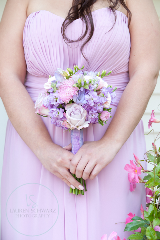 lavender bridesmaid dress, lavender and pink bouquet