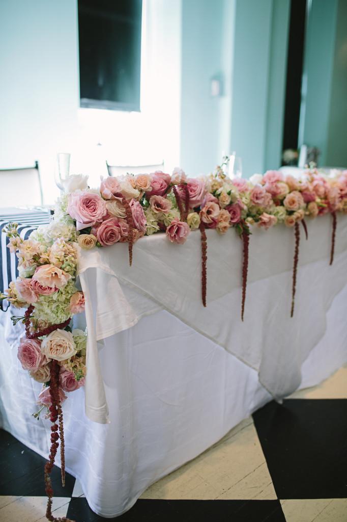 Cape May Wedding Florist - A Garden Party Florist - Congress Hall - Brook Courtney Photography - black and white linens - gold accents - blush wedding flowers - lace canopy - lucite cake stand