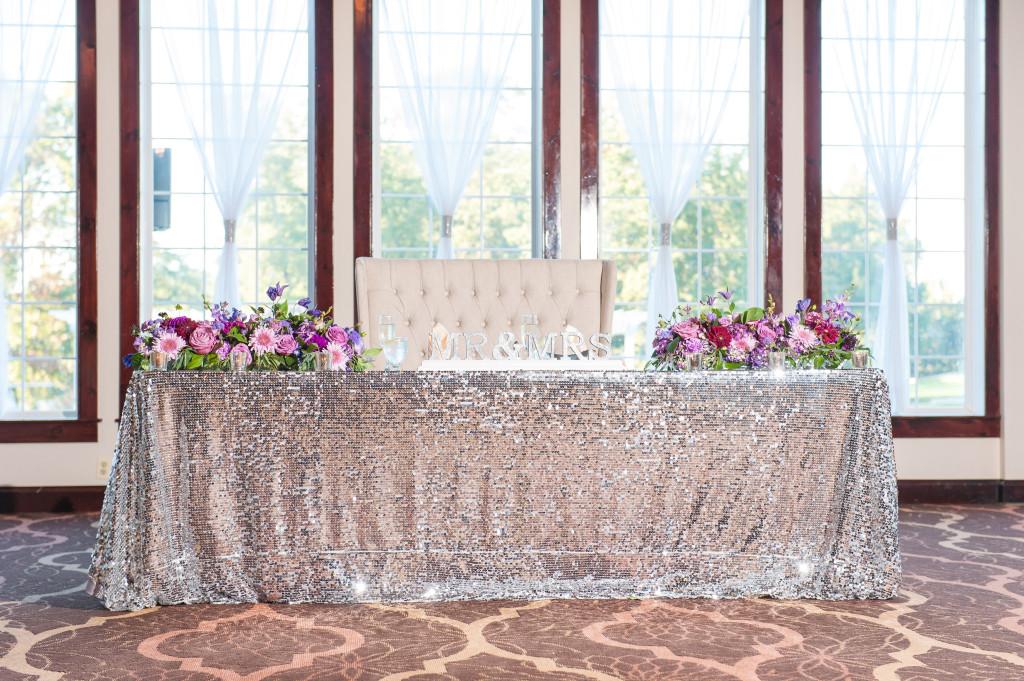A Garden Party florist - South Jersey Wedding Florist - Tina Jay Photography - Running Deer Golf Club - white wedding flowers - lavender wedding flowers - cake stand - sequined linen