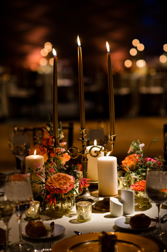 A Garden Party Florist - South Jersey Wedding Florist - Adventure Aquarium - Swoon Over It Photography - POSH Events - gold wedding - coral wedding - aquarium wedding - gold tapers - sequined linen - birch canopy - bud vases - gold plates - peonies