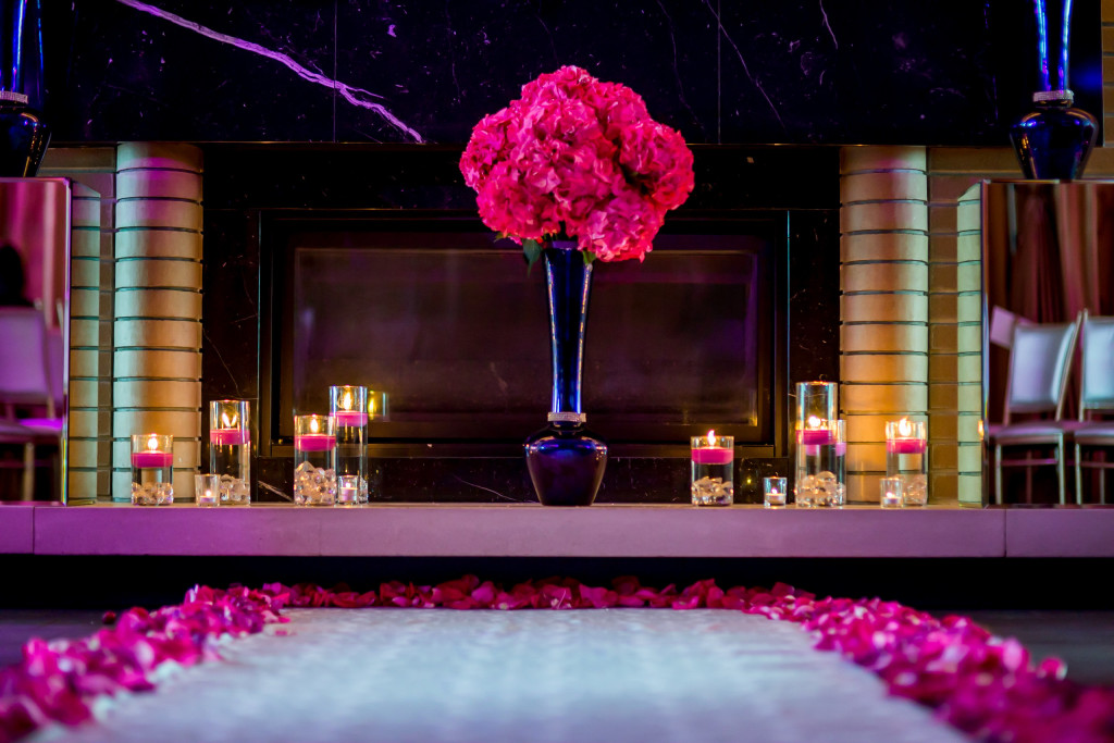 Atlantic City wedding florist - A Garden Party florist - LuRey photography - purple wedding flowers - pink wedding flowers - mirrored vases - sequined linen - summer wedding - the Chelsea hotel - lucite cake stand - rhinestones