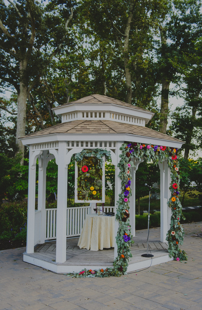 A Garden Party florist - Atlantic City wedding florist - Tatiana Breslow Photography - Stockton Seaview Inn - succulents - gerber daisies - garland - lanterns - candelabra - purple wedding flowers - yellow wedding flowers